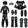 Kit Motocross Capacete + Oculos + Proteção + Bota + Roupa