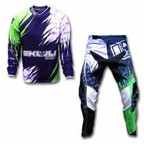 Kit Conjunto Roupa Motocross Trilha Dub Verde Skull Racing