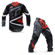 Kit Roupa Motocross Trilha Protork Insane 4 Vermelha Cinza M