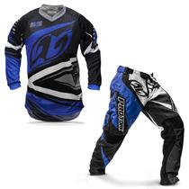 Kit Roupa Motocross Pro Tork Insane 4 Azul E Cinza Tamanho G