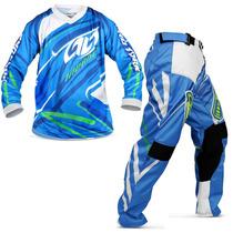 : Kit Roupa Motocross Insane 3 Azul Calça Camisa Trilha