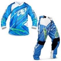 Kit Roupa Motocross Insane 3 Azul Camisa Calça Trilha