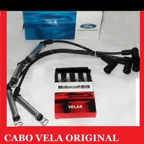 Kit Cabos + Velas Ford Originais Ecosport Ka Fiesta Courier