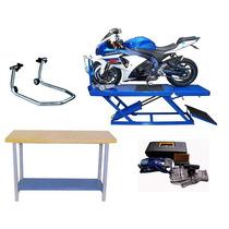 Oficina De Moto Kit Rampa Bancada Cavalete Kit Reparo Pneus