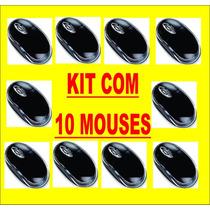 Kit Com 10 Mouses Ópticos Usb Preto