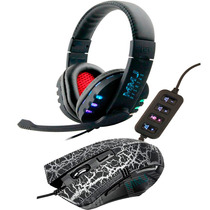 Kit Mouse Gamer 3200+ Fone De Ouvido Boas Headset Usb Ps3 Pc