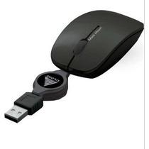 Mini Mouse Usb Com Cabo Retrátil Marca Clone 06346 Preto