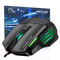 Mouse Gamer Metal War Fire Macro 7 Botões 3200dpi Mousepad