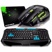 Kit Gamer Teclado Multilaser Metal War + Mouse 2400 Dpi Pad