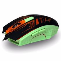 Mouse Gamer Otico Usb Neon 3200 Dpi Pc Com Fio 6 Botões Note