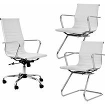 1 Cadeira Presidente + 2 Cadeiras Diretor Cromadas Brancas