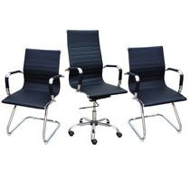 1 Cadeira Presidente + 2 Cadeiras Diretor Cromadas Pretas