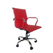 Cadeira Escritório Diretor Vermelha Base Gás/braços/girat