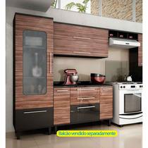 Cozinha 3 Peças Paneleiro E Armário Basculante Preto E Café