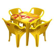 Kit 4 Mesas Quadradas + 16 Cadeiras Skol Plastico Bar Abs