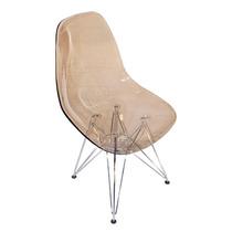 Cadeira Life Em Acrílico Fumê Com Base Em Aço Cromado