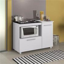 Balcão P/ Microondas E Cooktop Com Fruteira Porta Branco R