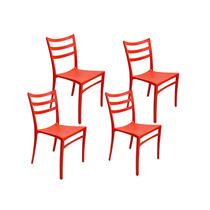 Cojunto 4 Cadeiras Hatch Vermelhas Em Polipropileno