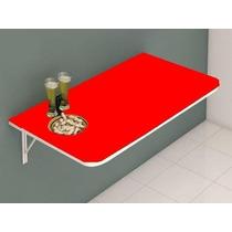 Mesa De Parede Dobrável Vermelha Bancada P/ Cozinha Retratil
