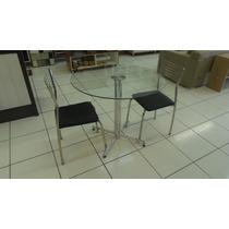 Mesa Com Duas Cadeiras Cromada Com Tampo De Vidro 8mm