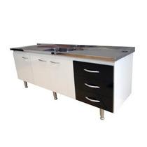 Gabinete Para Cozinha Bonatto 1,00 Mt Branco E Preto