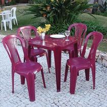Kit Mesa + 4 Cadeiras Plástica Bistrô Sem Apoio Braço Vinho