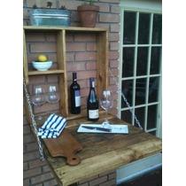Adega Barzinho Mesa De Madeira Maciça Vinhos E Taças
