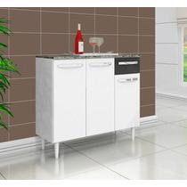 Balcão Gabinete Cozinha Branco E Preto Com Puxadores