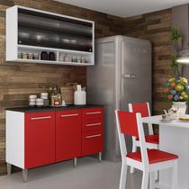 Cozinha Compacta Fresia Madesa Branco/vermelho