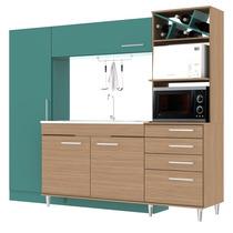 Kit Cozinha Compacta 4 Portas Com Mesa Mangiare Móveis