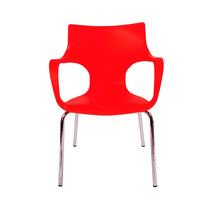 Cadeira Jim Vermelha Em Polipropileno C/ Base Em Aço Cromado