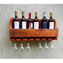 Adega De Madeira Para Vinhos E Whisky Com Porta Taças