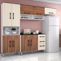 Cozinha Compacta Completa Milena 4 Peças Rovere Amêndoa