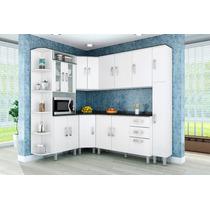 Cozinha Compacta Modulada 7 Peças Branco Branco Poliman