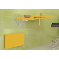 Mesa De Parede Dobrável Amarela Bancada P/ Cozinha Retratil