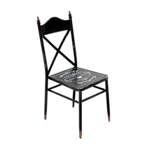Cadeira De Metal Vintage Preta Oldway