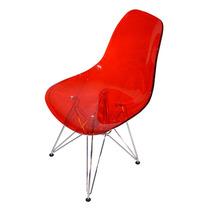 Cadeira Life Em Acrílico Vermelha Com Base Em Aço Cromado