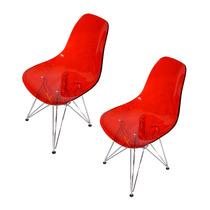 Conjunto 2 Cadeiras Life Em Acrílico Vermelhas
