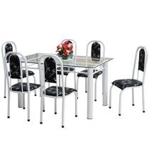 Jogo De Mesa 06 Cadeiras Tampo Vidro 6mm 140x80cm Temperado