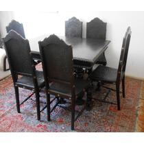 Cj Mesa Cristaleira Aparador Buffet Com 8 Cadeiras Em Imbuia