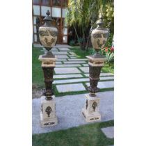 Par De Coluna Italiana Em Marmore E Bronze Design Luxuoso