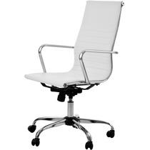 Cadeira Escritório Presidente Branca Base Gás/braços/giratór