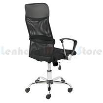Cadeira Escritório Presidente Preta Tela Mesh Girat/braços