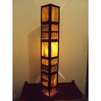 Luminária Rustico Artesanal Coluna Em Fibra De Coqueiro