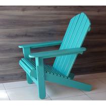 Cadeira De Madeira Adirondack Colorida Verde Menta