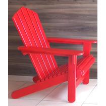Cadeira Espreguiçadeira Vermelha Adirondack Madeira 4 Pecas