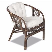 Cadeira Cirebon Em Rattan Natural Maciço, Almofada, Jardim