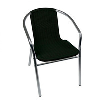 Cadeira Poltrona Mor Rattan Preta Em Aluminio Jardim