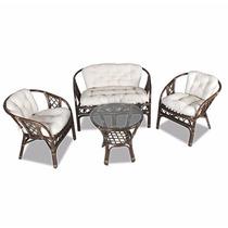 Conjunto, 2 Cadeiras, Namoradeira E Mesa Cirebon Em Rattan
