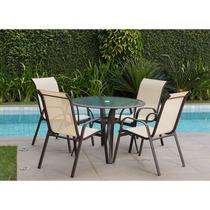 Conjunto Mesa Com Cadeiras Sorrento Sem Ombrelone - Marrom